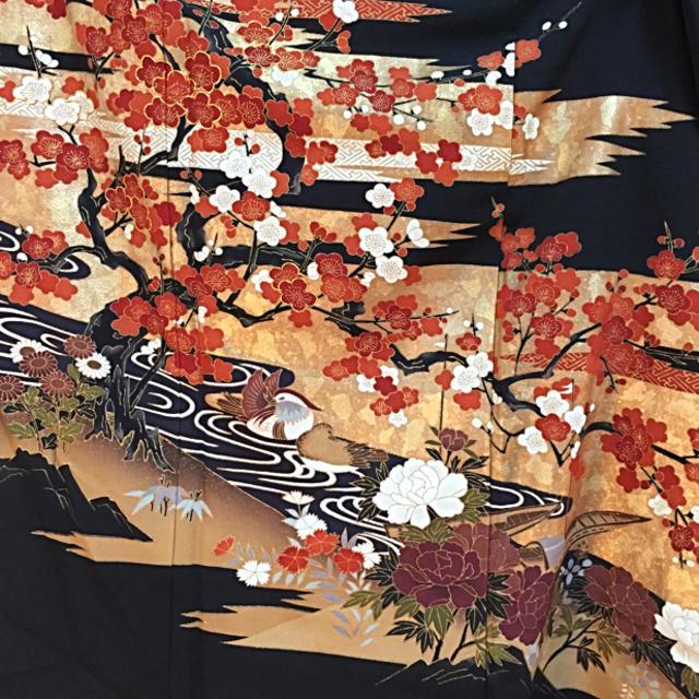 3月1日迄セール❤️華やか漆箔‼️大江戸褄模様の正絹黒留袖❤️ レディースの水着/浴衣(着物)の商品写真