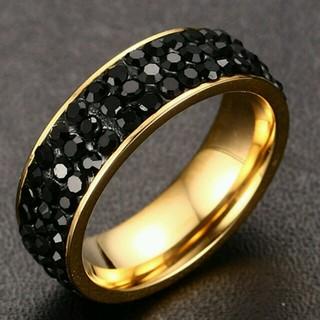 ❤300円リング❗❗プレゼントに❗❗18 kゴールドメッキクリスタルリング(リング(指輪))