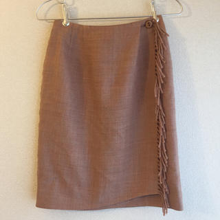 ロキエ(Lochie)のused ・ピンクベージュ巻きスカート(ひざ丈スカート)