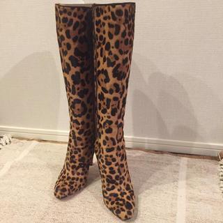 クリスチャンルブタン(Christian Louboutin)のクリスチャンルブタン ロングブーツ ハラコ ヒョウ柄 入手困難 美品 人気 靴(ブーツ)