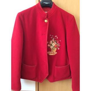 ピンクハウス(PINK HOUSE)の赤  刺繍 ジャケット(テーラードジャケット)