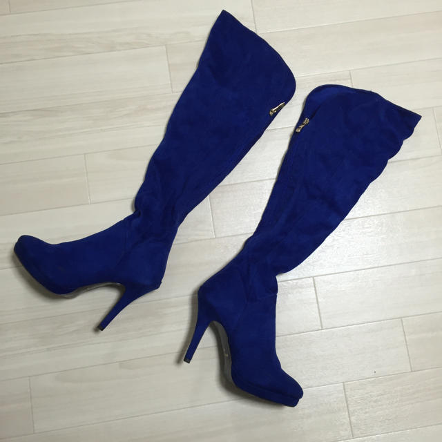 ニーハイブーツ ブルー レディースの靴/シューズ(ブーツ)の商品写真