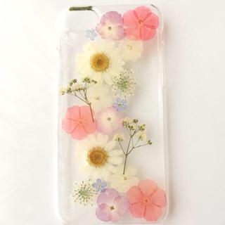 かすみ草とお花たち☆押し花☆iPhoneケース(iPhoneケース)