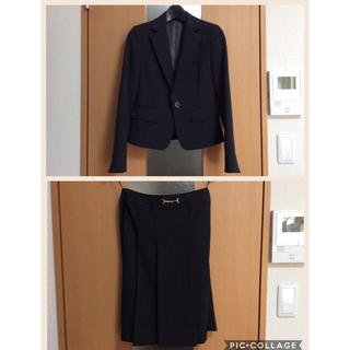 ニッセン(ニッセン)の小さいサイズ3号 ブラック ボックスプリーツスカートスーツセット(スーツ)
