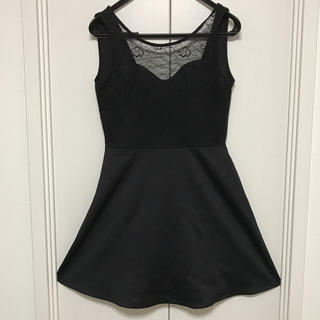 エイチアンドエム(H&M)の美品フォーマル調黒ワンピ(ミニワンピース)