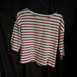 ジーユー(GU)の赤ボーダー トップス(Tシャツ(長袖/七分))