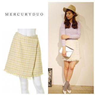 マーキュリーデュオ(MERCURYDUO)の新品MERCURYDUOチェックツイードラップスカート(ミニスカート)