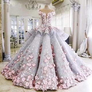 豪華高級品質トレーン長いピンク花ウェディングドレス(ウェディングドレス)