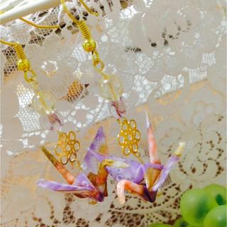 友禅千代紙 薄紫折り鶴和風ピアス(ピアス)
