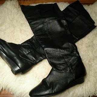 チャイニーズランドリー(CHINESE LAUNDRY)のsale!チャイニーズランドリーUS9.5本革黒ニーハイブーツ(ブーツ)