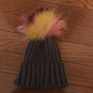 ルシェルブルー(LE CIEL BLEU)の【新品未使用】リアルファー付きニット帽(ニット帽/ビーニー)