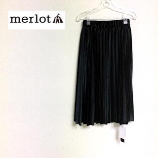 0a4b05add4c4d6 メルロー(merlot)のメルロー ミモレ丈ベロアプリーツスカート ブラック(ひざ丈スカート