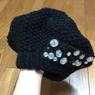マーキュリーデュオ(MERCURYDUO)のマーキュリーデュオ ビジュー ニット帽 帽子 ブラック(ミニスカート)