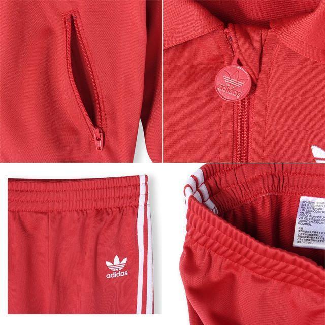 adidas(アディダス)の100【新品/即日発送】adidas キッズジャージ 上下 セットアップ レッド キッズ/ベビー/マタニティのキッズ服 女の子用(90cm~)(ジャケット/上着)の商品写真