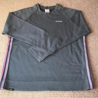 アディダス(adidas)のアディダス 長袖シャツ グレー ピンクの3本線(Tシャツ(長袖/七分))