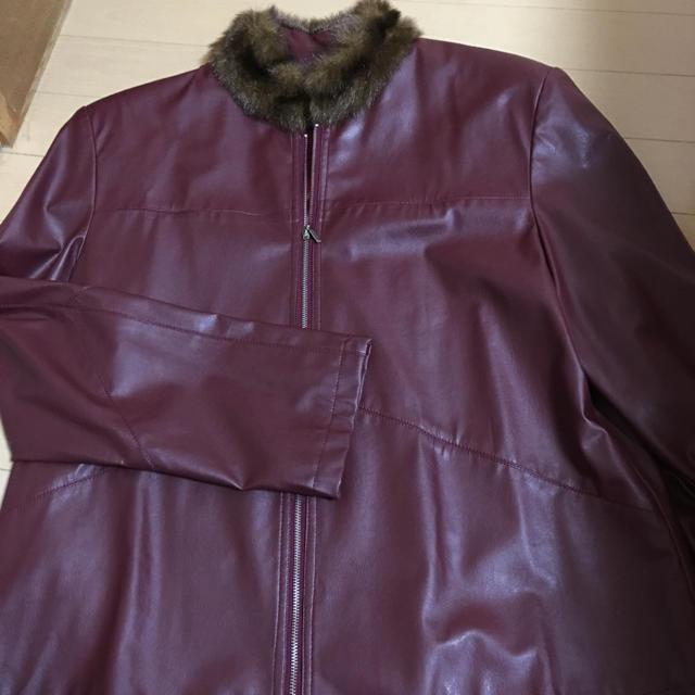 フェイクレザージャケット ワインレッド レディースのジャケット/アウター(ライダースジャケット)の商品写真