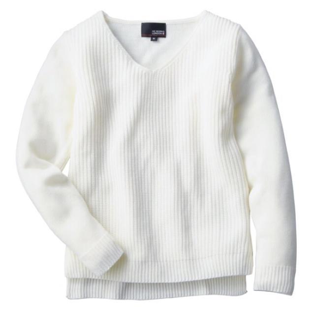 しまむら(シマムラ)のニットプルオーバー 白 レディースのトップス(ニット/セーター)の商品写真