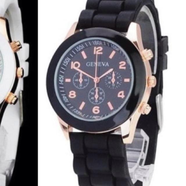 ラバーウオッチとブラック&ブルー レディースのファッション小物(腕時計)の商品写真