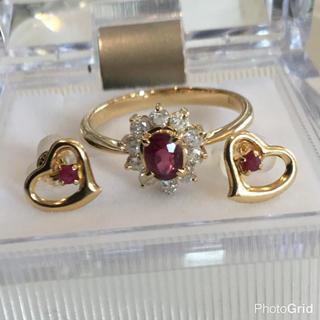k18 ルビー ダイヤモンド リング ピアス セット(リング(指輪))