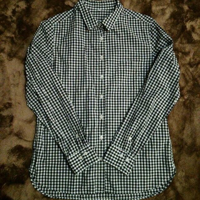 無印良品 良品計画 ギンガムチェック シャツ カットソー ブラウス 半袖 XL 青 白 レディース/G158