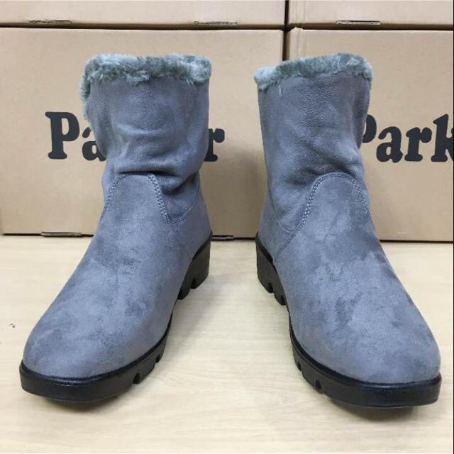 24.5cm★新品★レディース★裏ボア スエードショートブーツ 黒灰色 レディースの靴/シューズ(ブーツ)の商品写真