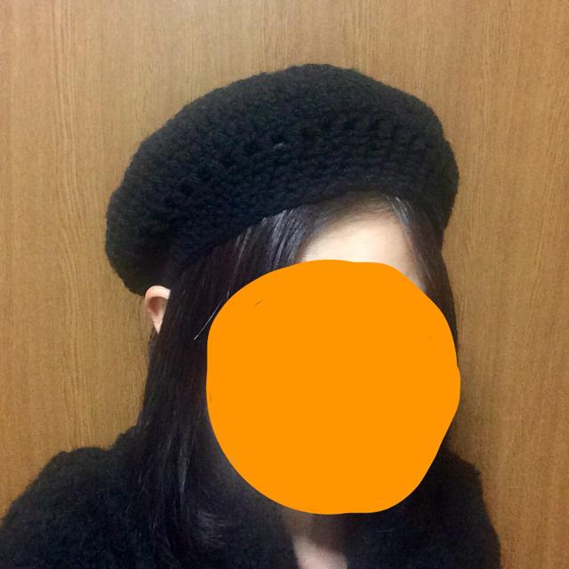 ハンドメイド ベレー帽 毛糸 黒 ハンドメイドのファッション小物(その他)の商品写真