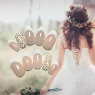 オーダーメイド ネイルチップ フレンチ小花