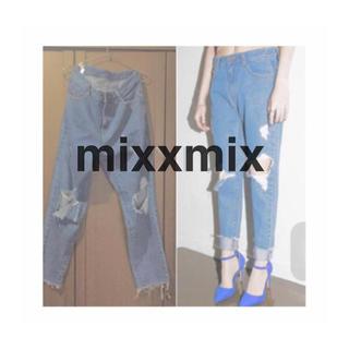 ミックスエックスミックス(mixxmix)の【新品】処分価格!デザイン ダメージデニム(デニム/ジーンズ)