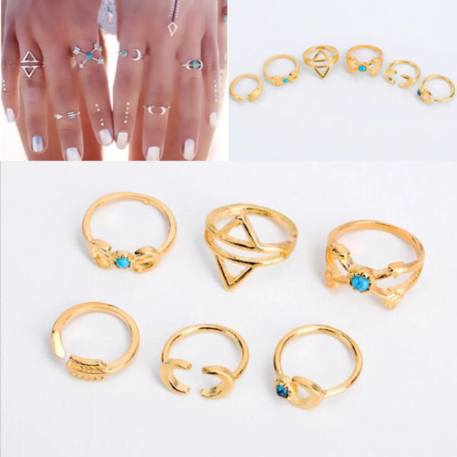 在庫処分sale リング6セット ターコイズ ゴールド レディースのアクセサリー(リング(指輪))の商品写真