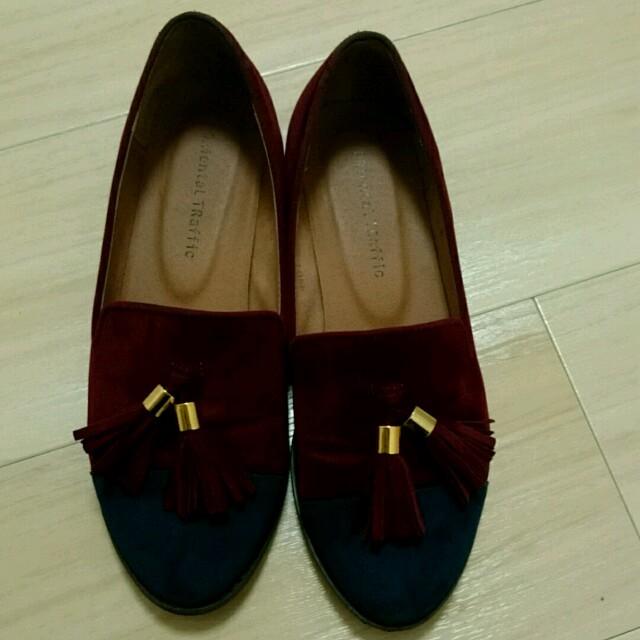 ORiental TRaffic(オリエンタルトラフィック)のORiental TRaffic ボルドー×ブルーのローファー レディースの靴/シューズ(ローファー/革靴)の商品写真