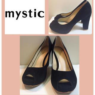 ミスティック(mystic)のミスティック♡ブラックスエード オープントゥ パンプス♡(ハイヒール/パンプス)