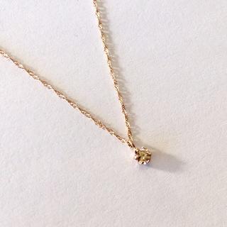 ヨンドシー(4℃)のシャンパンカラー ダイヤモンド K10 ネックレス(0.1ct)(ネックレス)