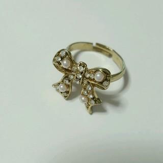 リボン  指輪  ラインストーン(リング(指輪))
