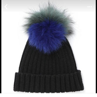 ルシェルブルー(LE CIEL BLEU)のルシェルブルー リアルファーニット帽 美品(ニット帽/ビーニー)