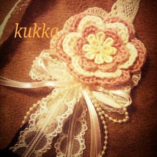 ピンクのお花とレースリボンのカチューム(ヘアバンド)