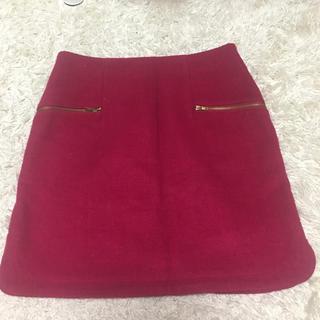 パウダーシュガー(POWDER SUGAR)のワインレッド♡台形スカート(ひざ丈スカート)