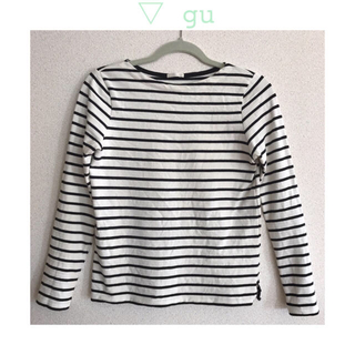ジーユー(GU)のボーダーボートネックT シンプル トップス(Tシャツ(長袖/七分))