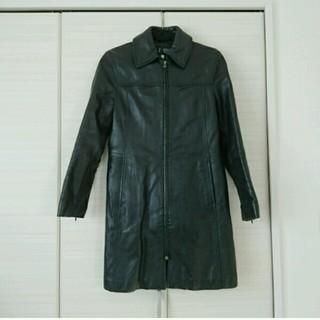アルマーニジーンズ(ARMANI JEANS)の美品 アルマーニジーンズ AJ レザーコート 黒 38 本革(ロングコート)