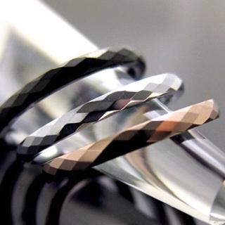 リング 指輪 ダイヤモンドカット 7号 ブラック 送料無料(リング(指輪))
