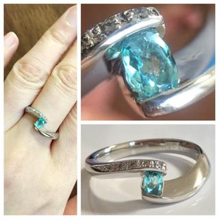 澄んだネオンブルー★パライバトルマリン0.15ct&ダイヤモンド PTリング(リング(指輪))