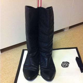 インポート本革 黒ロングブーツ 23.5(ブーツ)