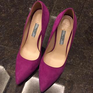 プラダ(PRADA)のプラダ PRADA 靴 パンプス パープル スエード 美品(ハイヒール/パンプス)