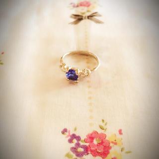 フラワー(flower)のブルーの石のvintage⑅◡̈*ピンキーring💍(リング(指輪))