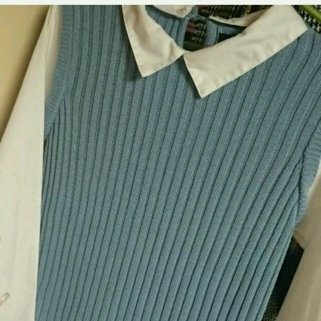 しまむら(シマムラ)のこれからの季節に一枚♪ブルー コンビネゾン** レディースのトップス(ニット/セーター)の商品写真