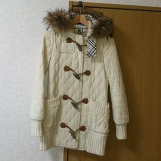 バーバリー(BURBERRY)のブルレ オフホワイトコート(ダッフルコート)