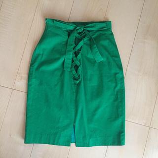 ハイウエストスカート グリーン バッグリボン(ひざ丈スカート)