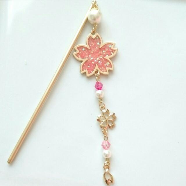 桜のかんざし♡ピンク レディースのヘアアクセサリー(その他)の商品写真