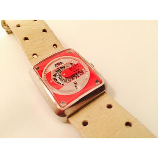 オリエント(ORIENT)のORIENT ホワイトレザーの赤盤腕時計(腕時計)