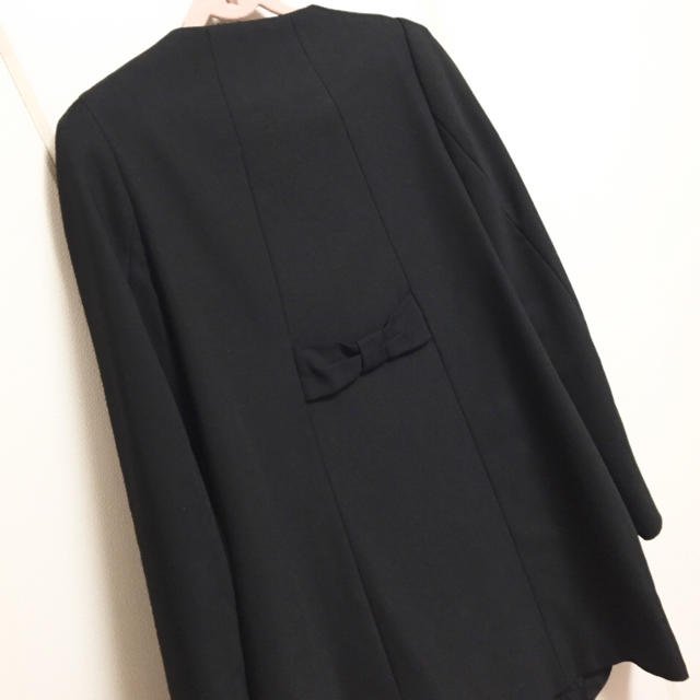 ZARA(ザラ)の☆ ZARA ザラ Aライン コート ブラック リボン ノーカラー ジャケット☆ レディースのジャケット/アウター(ロングコート)の商品写真