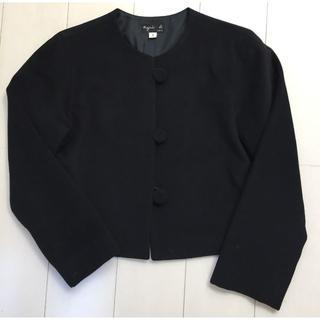 アニエスベー(agnes b.)のアニエスベー ショート丈ジャケット 黒(ノーカラージャケット)